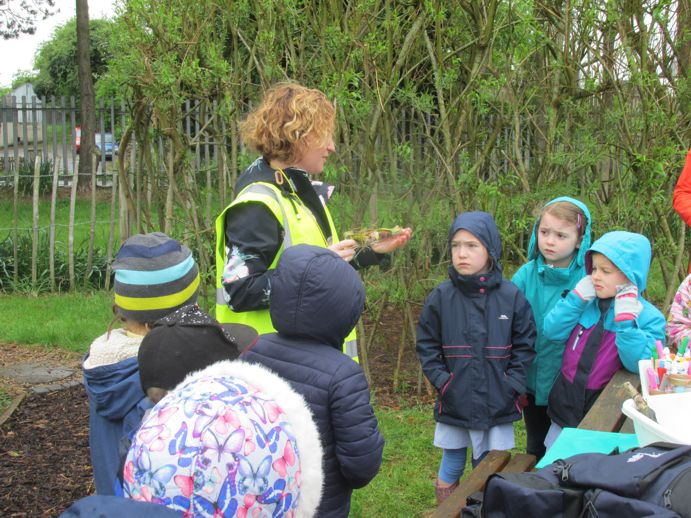 Mrs Calderwood taking Forest School session